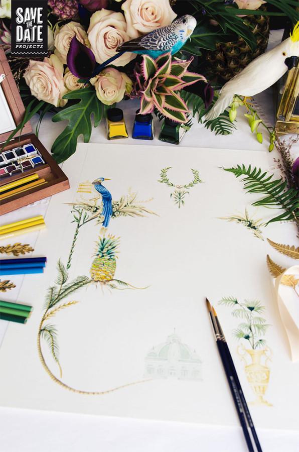 Invitaciones de boda tropical, pajaros, palmeras, piñas, helechos, ilustraciones, naturaleza